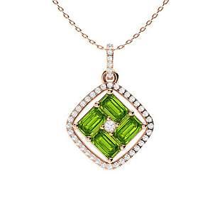 1.65 ctw Peridot & Diamond Necklace 14K Rose Gold