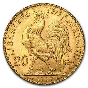1909 France Gold 20 Francs Rooster BU