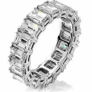 Natural 7.02 CTW Emerald Cut Diamond Eternity Ring 18KT