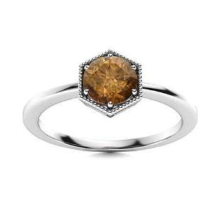 Natural 0.47 CTW Brown Diamond Solitaire Ring 18K White