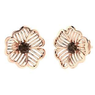 1.26 CTW Smoky Quartz Halo Earrings 14K Rose Gold
