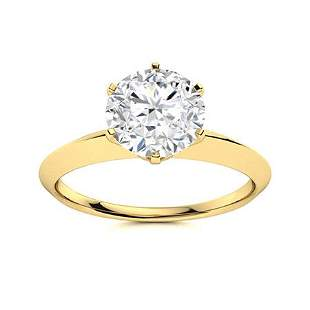 Natural 1.51 CTW Diamond Solitaire Ring 14K Yellow Gold
