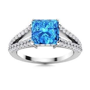 Natural 1.63 CTW Topaz & Diamond Engagement Ring 18K