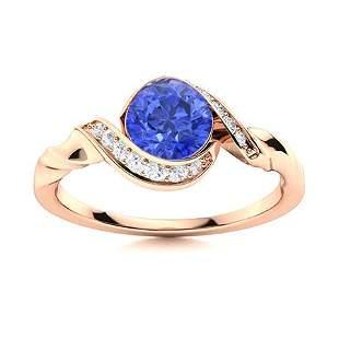Natural 1.14 CTW Ceylon Sapphire & Diamond Engagement