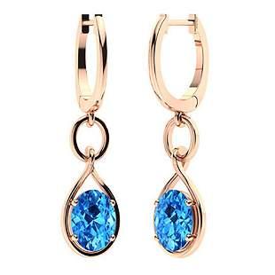 2.88 CTW Blue Topaz Drops Earrings 14K Rose Gold
