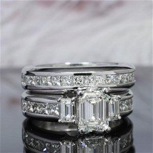 Natural 3.22 CTW Emerald Cut Diamond Engagement Ring