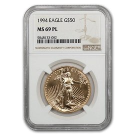 1994 1 oz American Gold Eagle MS-69 PL NGC