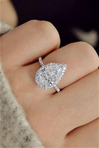 Natural 2.22 CTW Halo Pear Cut Diamond Engagement Ring