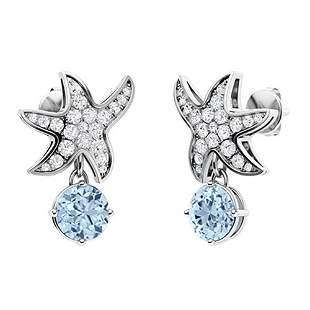 1.45 CTW Aquamarine & Diamond Drops Earrings 14K White