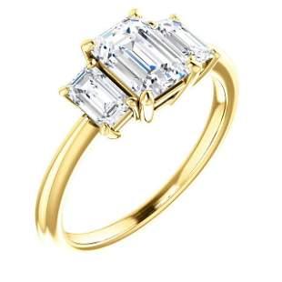 Natural 2.02 CTW 3-Stone Emerald Cut Diamond Engagement