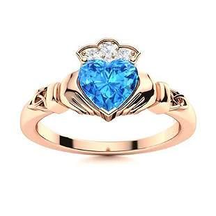 Natural 0.98 CTW Topaz & Diamond Engagement Ring 18K