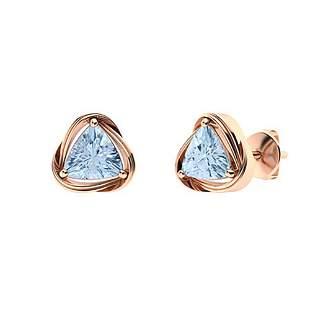 3.76 CTW Aquamarine Studs Earrings 14K Rose Gold