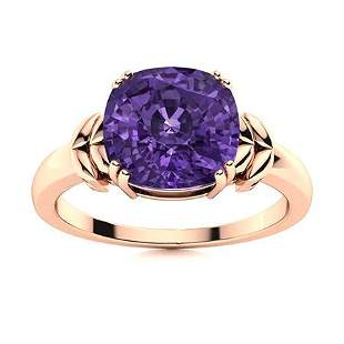 Natural 1.15 CTW Amethyst Solitaire Ring 14K Rose Gold
