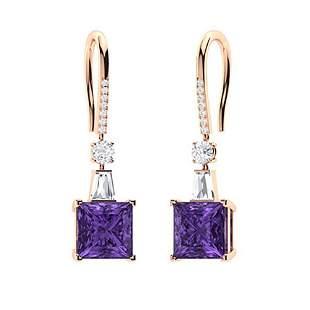 2.206 CTW Amethyst Drops Earrings 18K Rose Gold