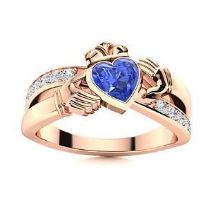 Natural 0.85 CTW Ceylon Sapphire & Diamond Engagement