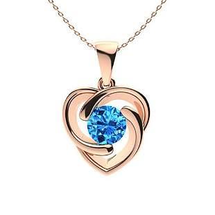 1.22 ctw Sky blue Topaz Necklace 18K Rose Gold