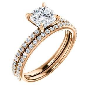 Natural 3.82 CTW Cushion Cut Diamond Engagement Set