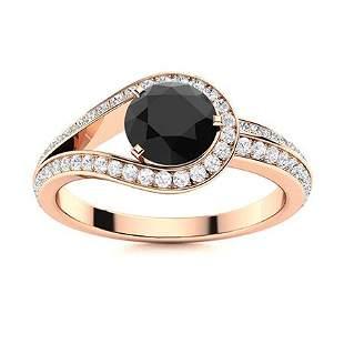 Natural 1.12 CTW Black & White Diamond Engagement Ring