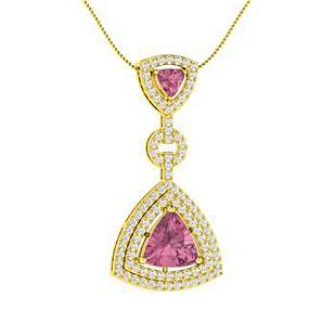 2.88 ctw Tourmaline & Diamond Necklace 18K Yellow Gold