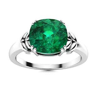 Natural 3.01 CTW Emerald Solitaire Ring 18K White Gold