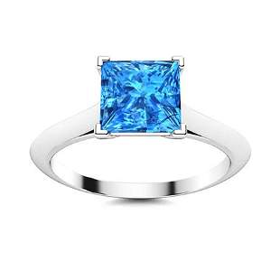 Natural 1.34 CTW Topaz Solitaire Ring 14K White Gold
