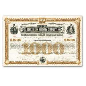$1000 Gold Bond - The Pine Creek Railway Company