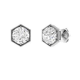 2.56 CTW Diamond Studs Earrings 14K White Gold
