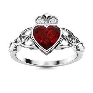 Natural 0.56 CTW Garnet & Diamond Engagement Ring 14K