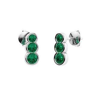 0.58 CTW Emerald Drops Earrings 14K White Gold