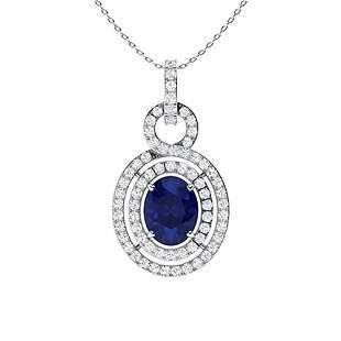 2.73 ctw Sapphire & Diamond Necklace 14K White Gold