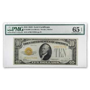 1928 $10 Gold Certificate CU-65 EPQ PMG (Fr#2400)