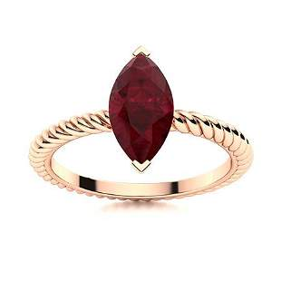 Natural 1.03 CTW Ruby Solitaire Ring 18K Rose Gold