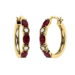 2.13 CTW Ruby & Diamond Hoops Earrings 18K Yellow Gold