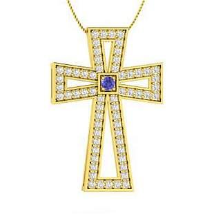 0.68 ctw Tanzanite & Diamond Necklace 18K Yellow Gold