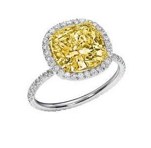 Natural 2.47 CTW Halo Canary Cushion Cut Diamond Ring