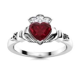 Natural 1.34 CTW Ruby & Diamond Engagement Ring 14K