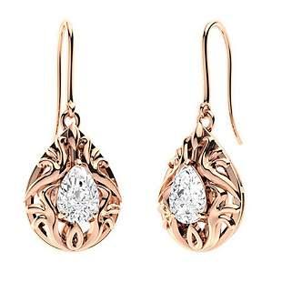 1.94 CTW White Topaz Drops Earrings 18K Rose Gold