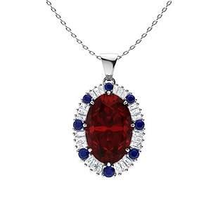 5.03 ctw Garnet, Sapphire & Diamond Necklace 18K White