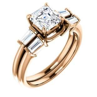 Natural 1.72 CTW Asscher Cut & Baguette Diamond Bridal