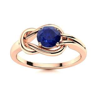 Natural 1.02 CTW Sapphire Solitaire Ring 18K Rose Gold
