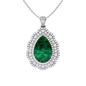 6.36 ctw Emerald & Diamond Necklace 18K White Gold