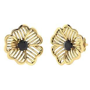 2.14 CTW Black Onyx Halo Earrings 18K Yellow Gold