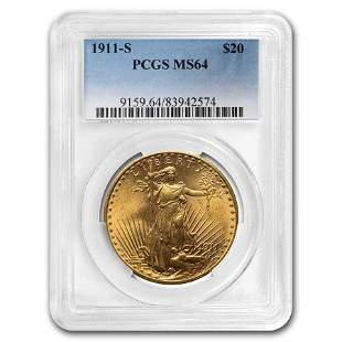1911-S $20 Saint-Gaudens Gold Double Eagle MS-64 PCGS
