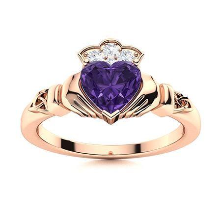 Natural 0.49 CTW Amethyst & Diamond Engagement Ring 14K