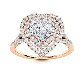 Natural 1.14 CTW Diamond Solitaire Ring 14K Rose Gold