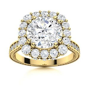 Natural 2.57 CTW Diamond Solitaire Ring 14K Yellow Gold