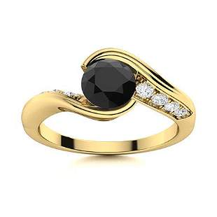 Natural 1.46 CTW Black & White Diamond Engagement Ring