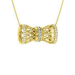 0.55 ctw Aquamarine & Diamond Necklace 14K Yellow Gold