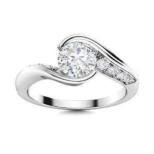 Natural 0.81 CTW Diamond Solitaire Ring 14K White Gold