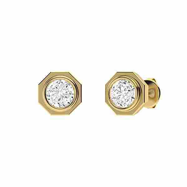 2.56 CTW Diamond Studs Earrings 18K Yellow Gold